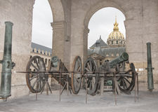 Ancient cannon in the Invalides museum in Paris royalty free stock image