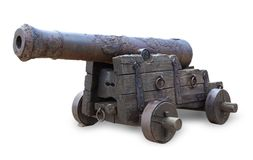 Ancient cannon isolated on white background. Ancient cannon isolated on white background stock images