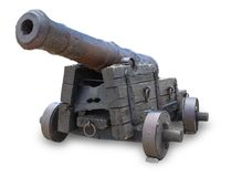 Ancient cannon isolated on white background. Ancient cannon isolated on white background royalty free stock photos
