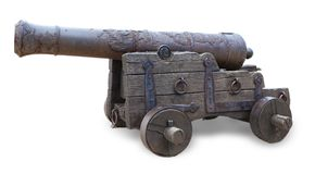 Ancient cannon isolated on white background. Ancient cannon isolated on white background royalty free stock image