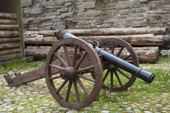 Ancient cannon maded from cast iron Royalty Free Stock Photos