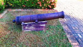 Ancient cannon. In museum, Nan Thailand stock photo