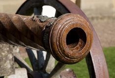 Ancient Cannon Muzzle Close Up View. Close up view of ancient military cannon stock images