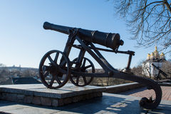 Ancient cannon in the park. L at Ukraine royalty free stock image
