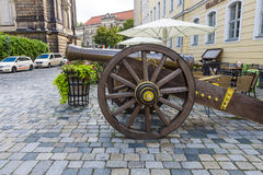 Ancient cannon of the 17th century on the square Neumarkt. Stock Photo