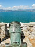 The ancient cannon. Ancient cannon in the town of Nafplion, Greece stock photos