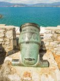 The ancient cannon. Ancient cannon in the town of Nafplion, Greece stock image