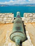 The ancient cannon. Ancient cannon in the town of Nafplion, Greece royalty free stock images