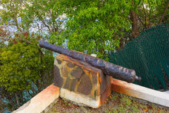 An ancient cannon at a villa in the caribbean Royalty Free Stock Photo