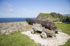 Ancient cannon waterfront Royalty Free Stock Photos