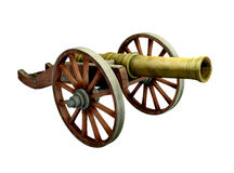 Ancient cannon on wheels. Isolated on white vector illustration
