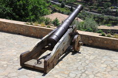 Ancient cannon on wheels Stock Photos