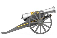 Ancient cannon on wheels Stock Photo