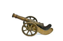 Ancient cannon on wheels  on white Royalty Free Stock Images