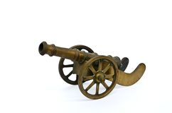 Ancient cannon on wheels  on white Royalty Free Stock Photo