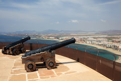 Ancient cannons in Aguilas, Spain Royalty Free Stock Image