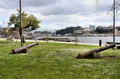 Ancient cannons in Porto Royalty Free Stock Images