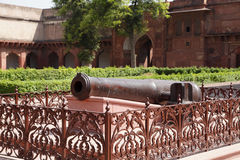 Canon barrel of a vintage Canon in Agra Fort Stock Photo