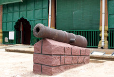 Ancient canon infront of Tipu Sultan's Palace Royalty Free Stock Image