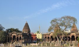 Holkar Cenotaphs of Indore Inida. Ancient Historic Architecture of Holkar Era Chatri(Canopy) in Indore. A mosque also visible in the background. These Canopies Stock Image