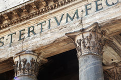 Ancient capitals of Pantheon in Rome Stock Images