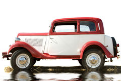 The ancient car of white and red color Royalty Free Stock Photography