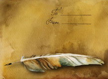 Ancient card with feather pen. Watercolor ancient card with words and feather pen vector illustration