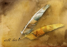 Ancient card with feather pen. Watercolor ancient card with words and feather pen Stock Photography