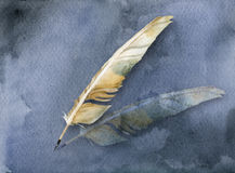 Ancient card with feather pen. Watercolor ancient card with  feather pen on blue background Stock Images