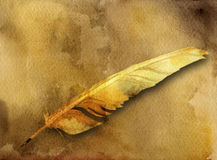 Ancient card with feather pen. Watercolor ancient card with  feather pen on yellow background Stock Photos