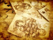 Ancient cards background. Old ancient background with Russian cards royalty free stock photo