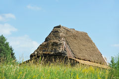 Ancient carpatian hut in forest Royalty Free Stock Image