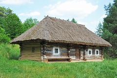 Ancient carpatian hut in forest Stock Image