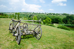 Ancient cart. Rural antique cart in Moldova, Eastern Europe stock photo