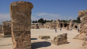 Ancient Carthage in Tunisia. People on ruins of ancient Carthage in Tunisia. Carthage is a major urban centre that has existed for nearly 3,000 years on the Gulf stock video footage