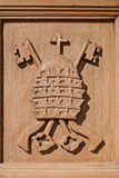 Ancient carved coat of arms Stock Photo