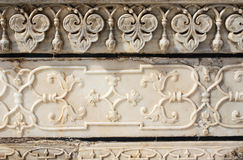 Ancient carved flower on marble in Taj Mahal, India Royalty Free Stock Photo