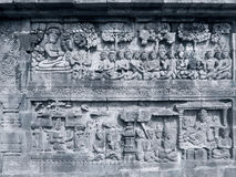 Ancient carved relief from Borobudur temple Royalty Free Stock Image