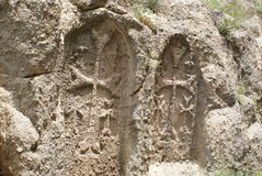 Ancient carved stone crosses or Khatchkars Stock Photo