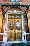 Ancient carved wooden door Stock Images