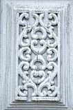 Ancient carved wooden door ornamental background Stock Photography