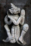 Ancient carved wooden figure at Shwe Nan Daw Kyaung, Myanmar Stock Images