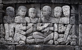 Ancient carving - Borobudur temple from Indonesia, Java Stock Photos