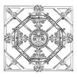 Ancient carving Lattice. Ancient carving street  lattice vector hand drawing illustration in black color isolated on white background Royalty Free Stock Images