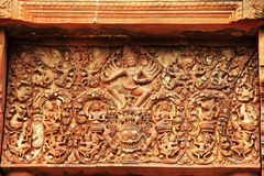 Ancient carving on lintel sand stone Stock Photo