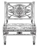 Ancient carving street bench vector hand drawing illustration. In black color isolated on white background Royalty Free Stock Images
