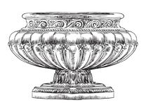 Ancient carving street vase. Vector hand drawing illustration in black color isolated on white background Stock Image