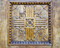 Ancient carving wooden door background Royalty Free Stock Photography