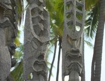 Ancient carvings on Hawaii Stock Images