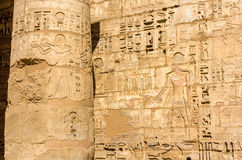 Ancient carvings in the Mortuary Temple of Ramses III Stock Photo